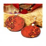 Chestnut Brown Earrings Flower moti..