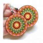 rosette Earrings Mandala Round Wood..