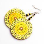 Sunny rosette Earrings Mandala Roun..