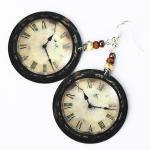 Rustic Clock - decoupage earrings -..