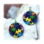 Clolorful Puzzle decoupage earrings..