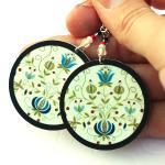 Polish folk Earrings Floral motif f..