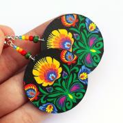 Polish Folk decoupage Earrings -Round Symmetrical and Colorful - Black Background - double faced