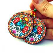 Folk Rooster Earrings Round and Colorful - decoupage earrings - double faced