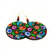 Spring Flowers polish folk Cut Out art motif - Decoupage Earrings - Colorful Hoop Dangle - double faced