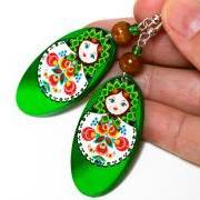 Matryoshka Russian doll Earrings - decoupage earrings - brown orange - double faced