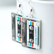 Retro cassette tape Earrings funky urban style decoupage jewelry