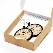 London clock Round Dangle Earrings in Earth tones