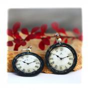 Rustic Clock - decoupage earrings - earth tones - double faced