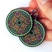 Oriental Mandala - decoupage earrings - purple, fuchsia, tangerine, blue, green - double faced