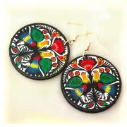 Folky Birds polish folk art motif - Decoupage Earrings - colorful round dangle - double faced
