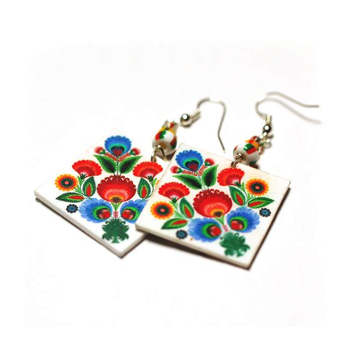 Rainbow Floral polish folk cut out motif Earrings - Decoupage Square Earrings - Colorful - double faced
