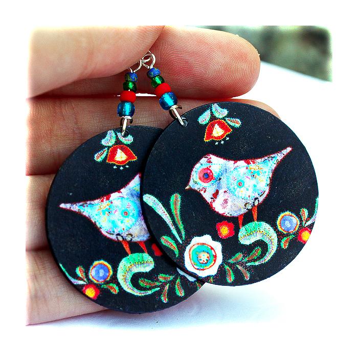 Birds Earrings Folk primitive art funky Round decoupage jewelry