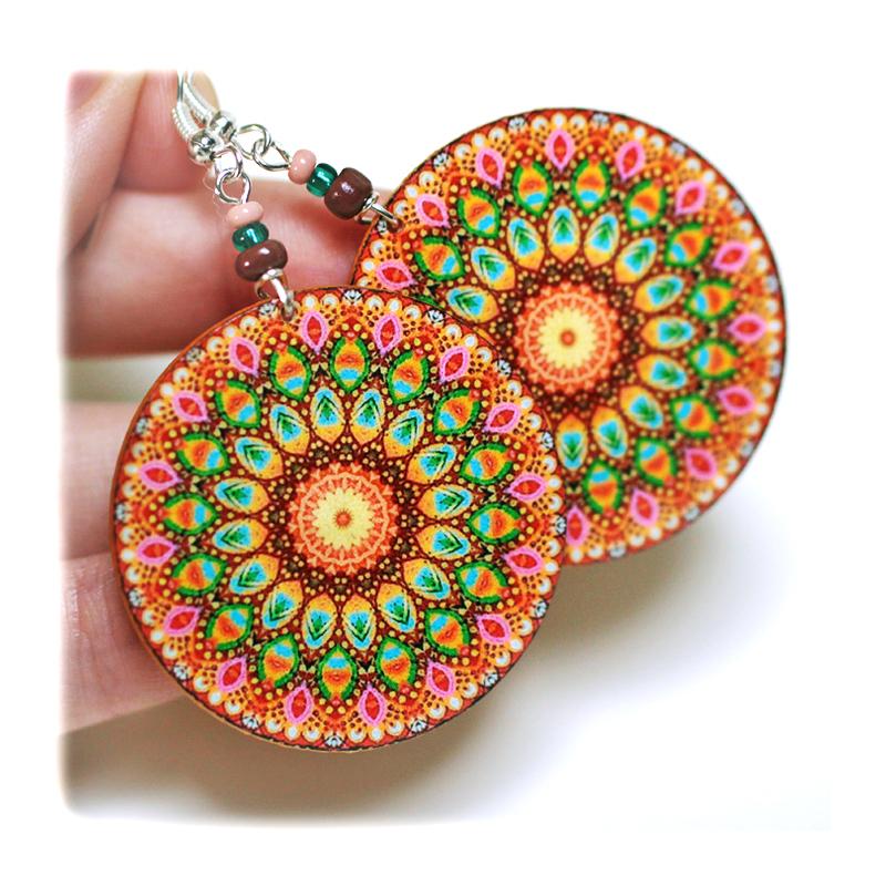 rosette Earrings Mandala Round Woodland - Pink Brown Green - decoupage earrings - double faced