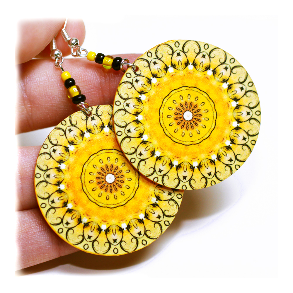 Sunny rosette Earrings Mandala Round - Summer Yellow - decoupage earrings - double faced