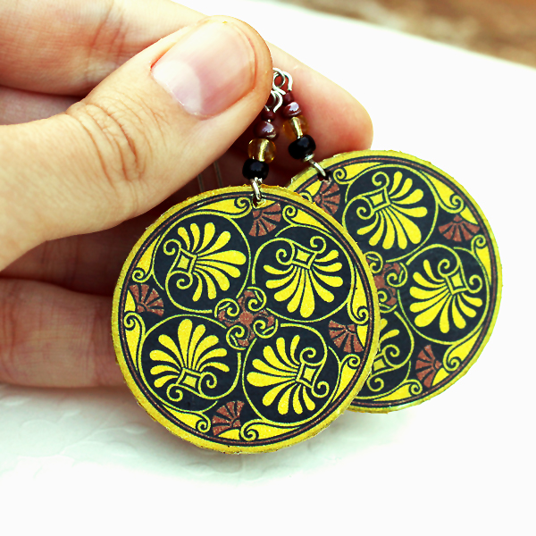 Mustard Yellow brown plant theme leaf Earrings - decoupage earrings - double faced