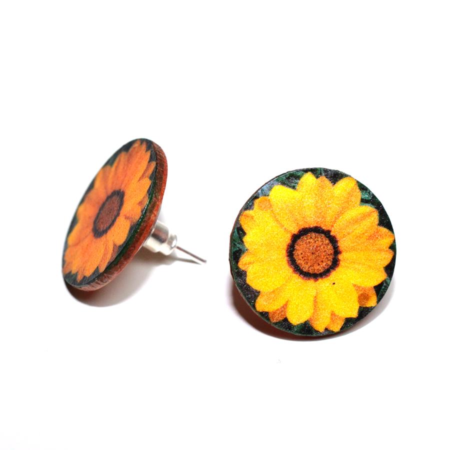Yellow Sunflower Post Earrings