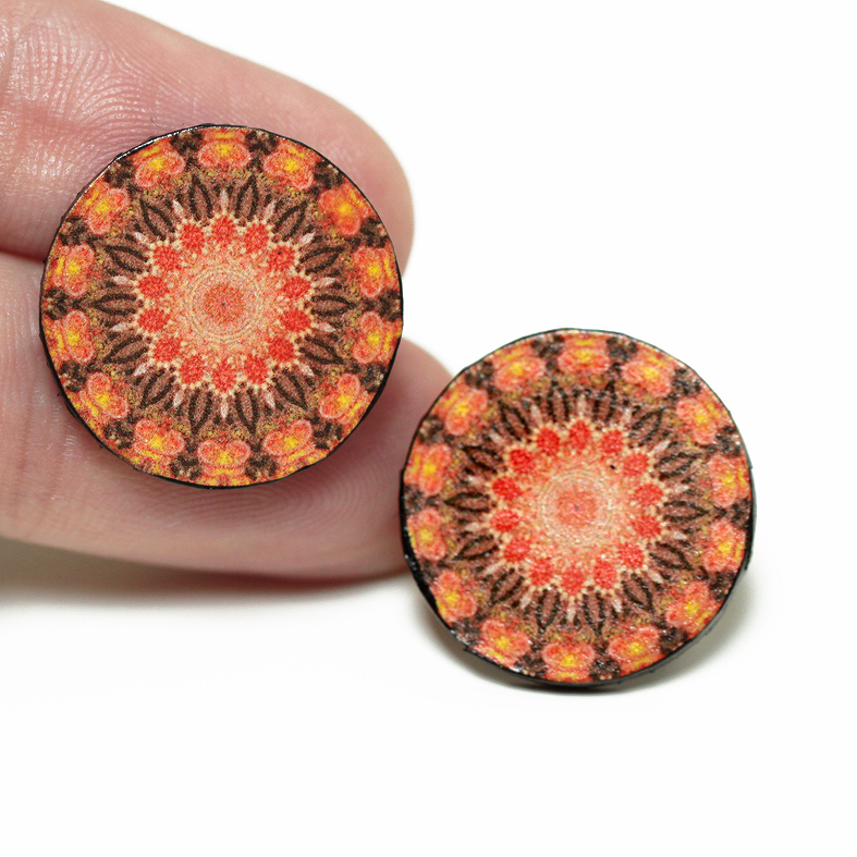 Old School Post Earrings Rosette Mandala , Tangerine Brown, Gift for her under 15