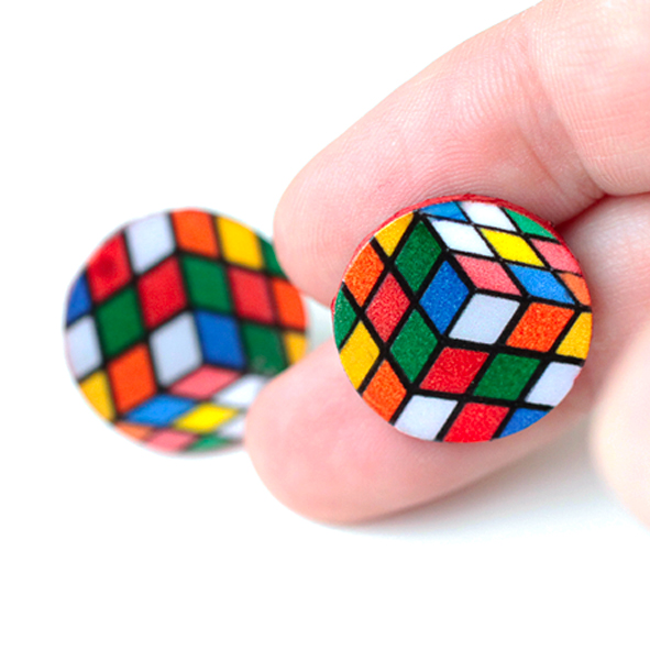 rubik cube Stud / Post Earrings, Colorful Rainbow