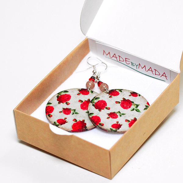 Vintage Roses Round decoupage Earrings Floral motif, deep red
