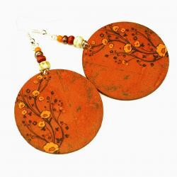 Chestnut Brown Earrings Flower motif Warm Tones