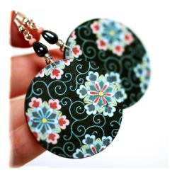 Geometric Flowers, Stars, Snowflakes Earrings -Black, Blue, Pink - decoupage earrings - double faced