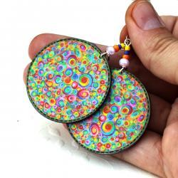 Bubble gum Earrings colorful swirls - decoupage - colorful rainbow colors - double faced