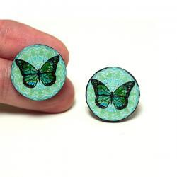 Butterfly Post Earrings, Blue and Mint , Gift for her under 15