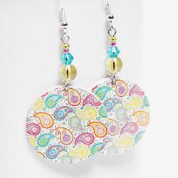 Paisley Earrings - Pastel palette - Medium size 3cm Ø - double faced