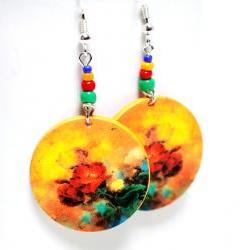 Romantic Flowers Earrings - Bright colors - Medium size 3cm Ø - double faced