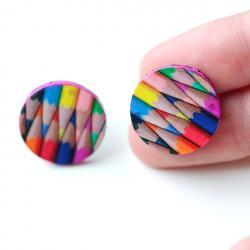 colored pencils Stud / Post Earrings, Colorful Rainbow