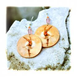Ballerina decoupage Earrings - peach and pink pastel colors - double faced