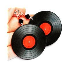 Vinyl Records - decoupage Retro Earrings - black and red - double faced