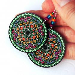 Oriental Mandala - decoupage earrings - purple, fuchsia, tangerine, blue, green - double faced