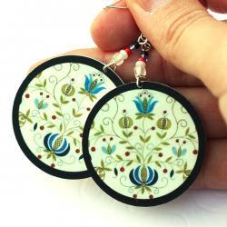 Polish folk Earrings Floral motif from Kaszebe region - decoupage earrings - double faced